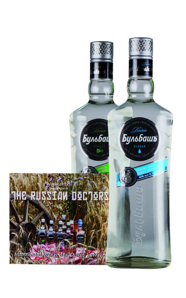 Bulbash Paket mit zwei Flaschen Wodka und CD The Russian Doctors