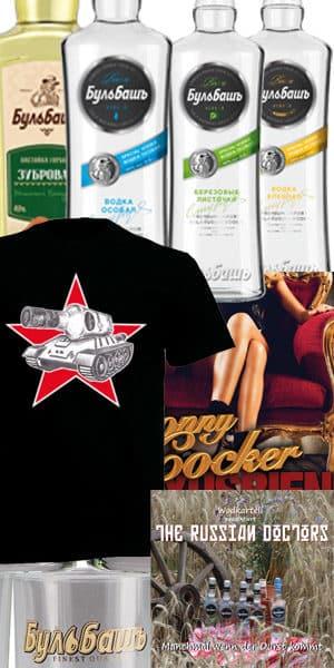 Geschenkpaket 1 mit Bulbash Wodka CD T-Shirt und Wodkagläsern